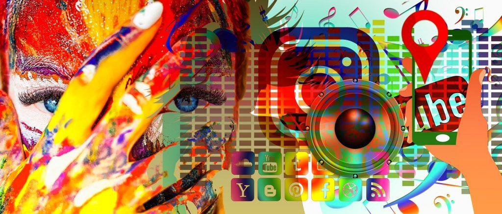 image artistique avec icone réseaux et médias sociaux