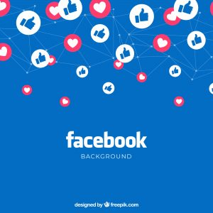 Fond bleu, avec média social Facebook et icônes