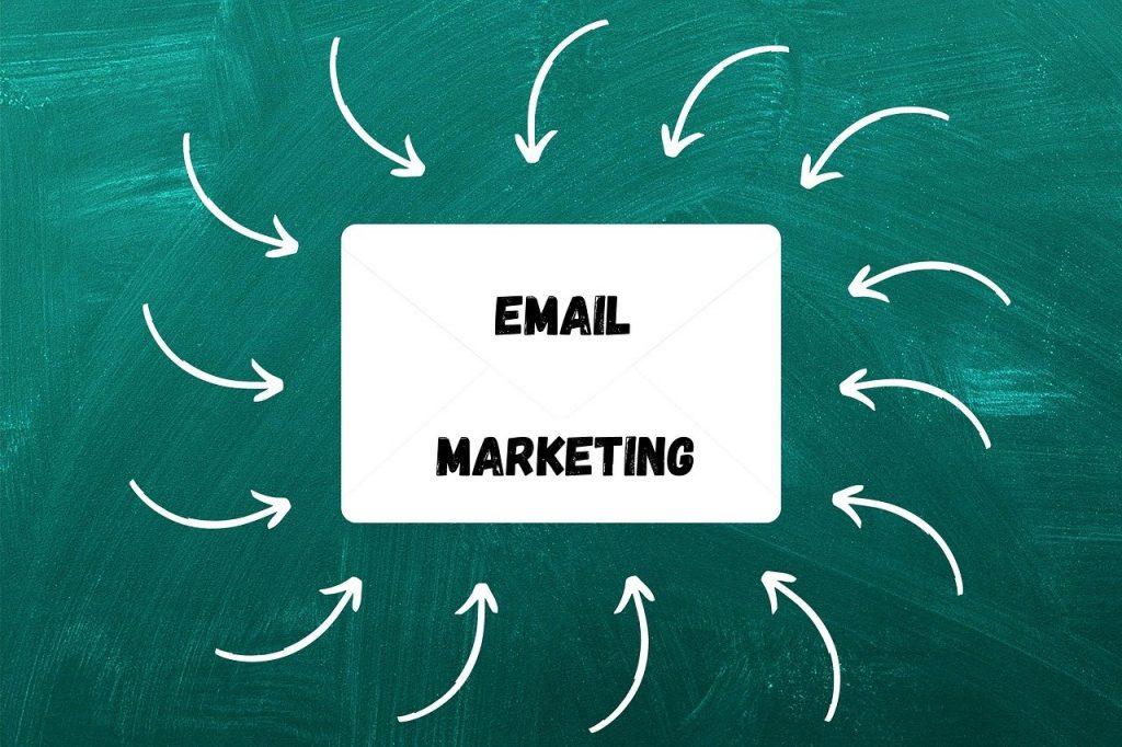 fond vert avec rectangle email marketing