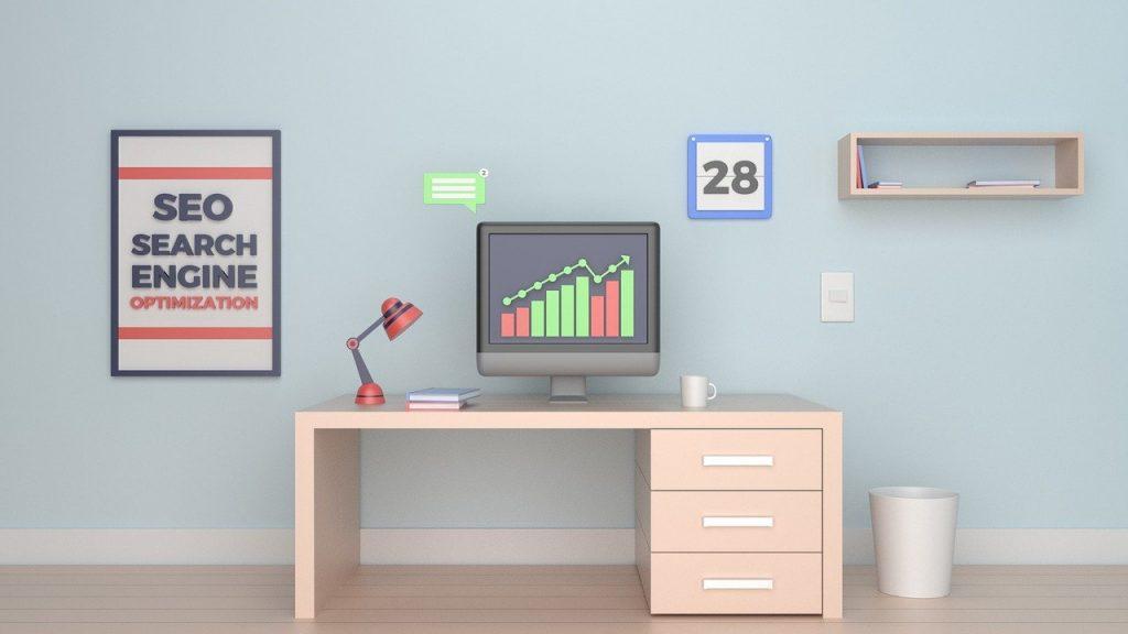 pièce bureau avec ordinateur et cadre SEO