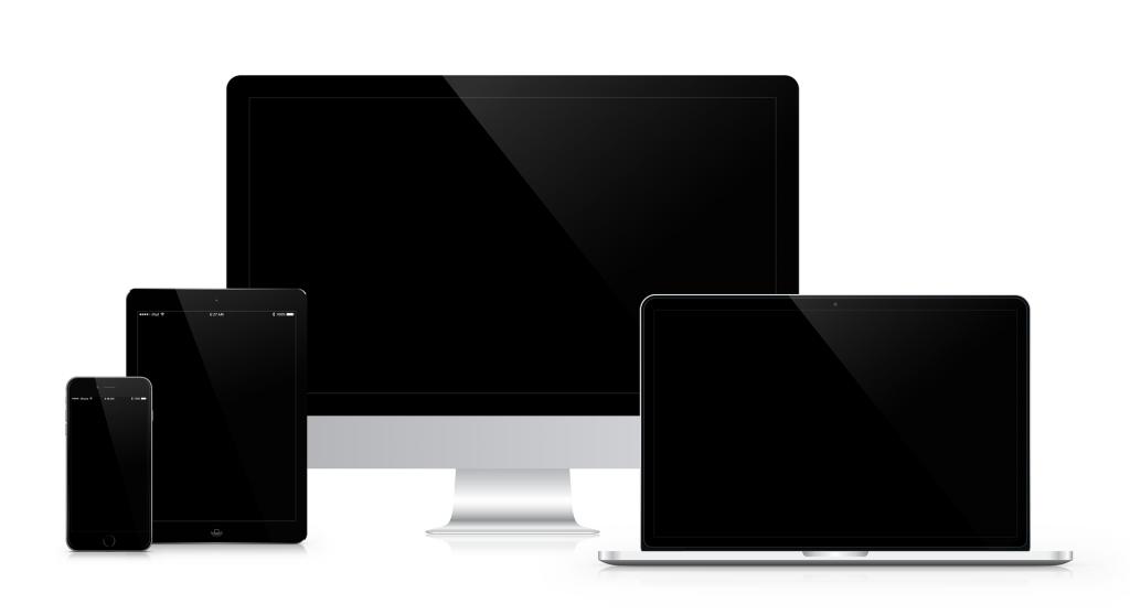 image avec un mobile, tablette, ordinateur portable, et imac