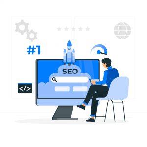 illustration utilisateur devant ordinateur avec seo